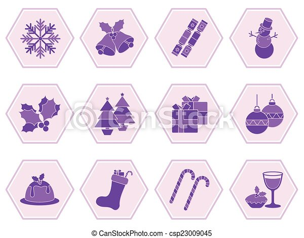 La colección de íconos de Navidad - csp23009045