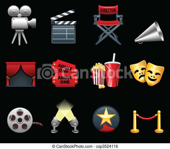 La colección de iconos de cine y cine - csp3524116