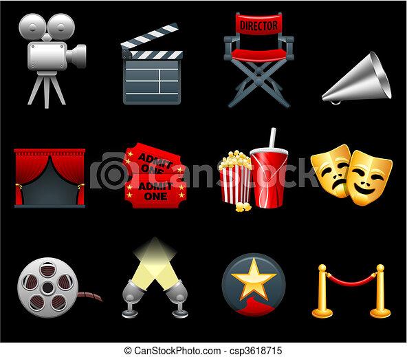 La colección de iconos de cine y cine - csp3618715