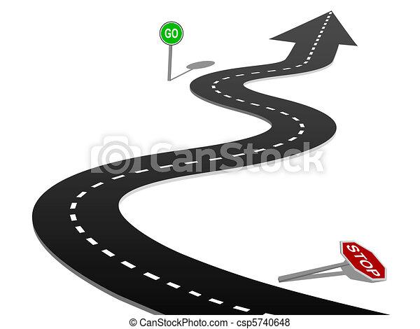 La curva del éxito de la carretera se detiene y firma el progreso - csp5740648
