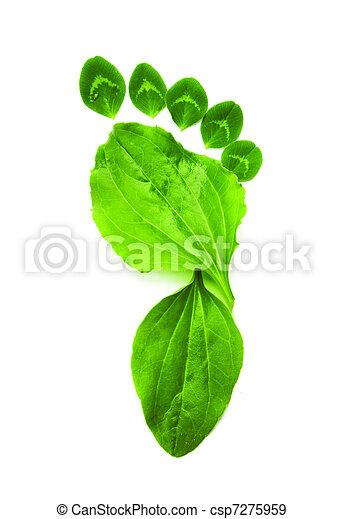 La ecología del arte simboliza la huella del pie verde - csp7275959