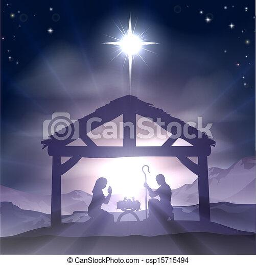 La escena de la natividad de Navidad - csp15715494