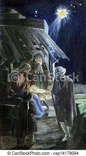La escena del nacimiento - csp14179094