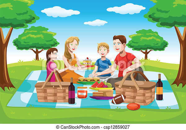 La familia feliz está de picnic - csp12859027