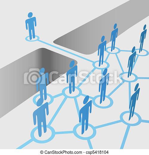 La gente conecta un equipo de fusión de la red - csp5418104