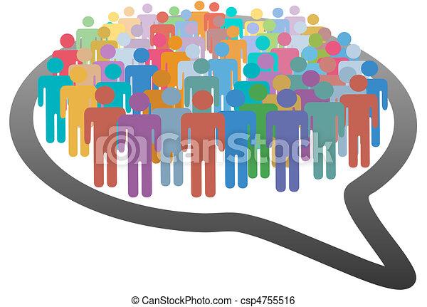 La gente de los medios sociales habla de la red de burbujas - csp4755516