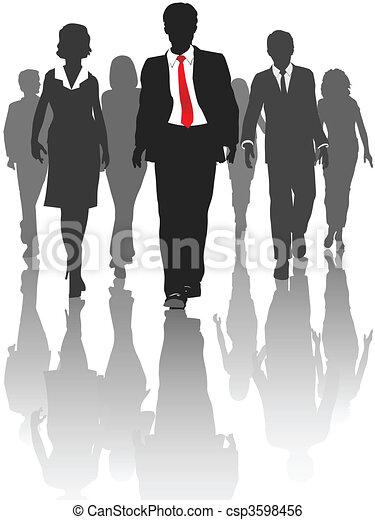La gente de negocios camina con recursos humanos - csp3598456