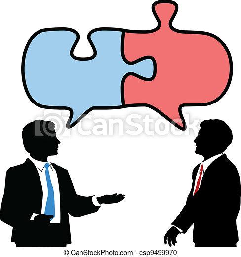 La gente de negocios conecta charlas de rompecabezas - csp9499970