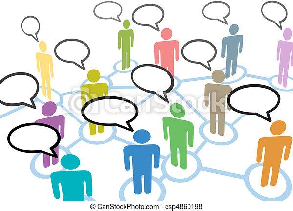 La gente habla de contactos sociales en las redes de comunicación - csp4860198