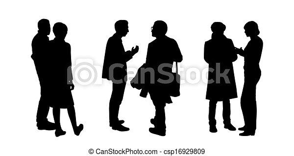 La gente que habla entre sí siluetas fijan la 1 - csp16929809