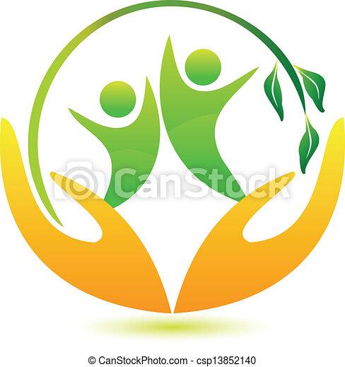 La gente sana y feliz logo - csp13852140
