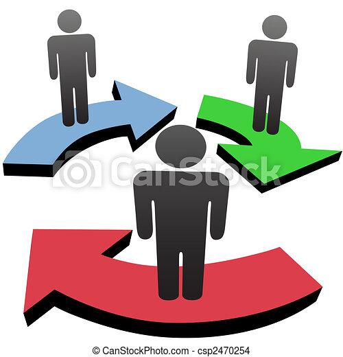 La gente se comunica en equipo con flechas de cadenas de trabajo - csp2470254