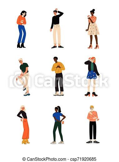 La gente siente dolor en diferentes partes del cuerpo causados por enfermedades o lesiones, dolor de muelas, dolor de estómago, dolor de espalda, dolor de brazos, piernas, hombro y vector de ilustración torácica - csp71920685