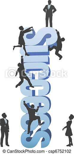 La gente sube al negocio con la palabra ambición de éxito - csp6752102