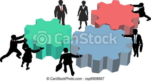 La gente trabaja juntos en un plan de negocios tecnológico - csp6908667