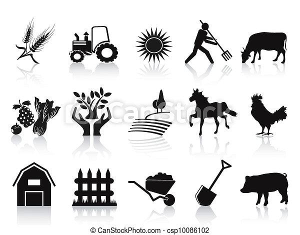 La granja negra y los iconos de la agricultura - csp10086102