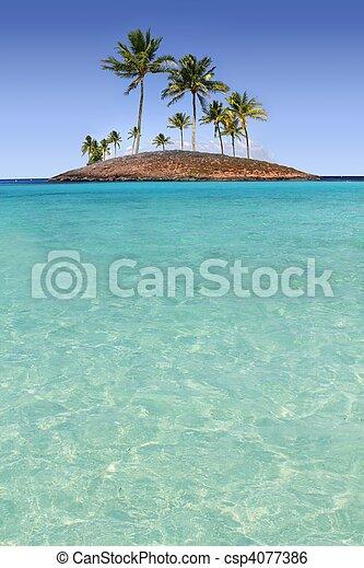 La isla de las palmeras del Paraíso es una playa tropical - csp4077386
