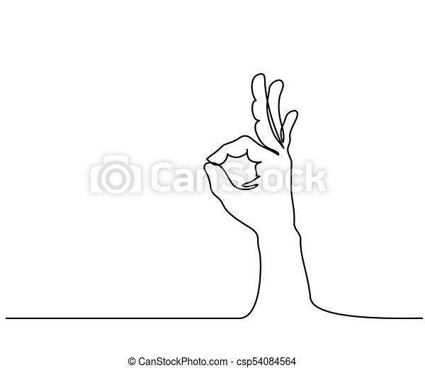 La mano en el signo OK en un fondo blanco aislado - csp54084564