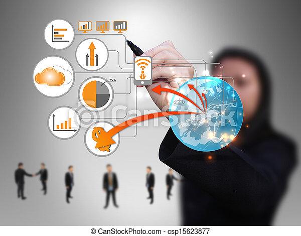 La mujer de negocios diseña la red de tecnología - csp15623877