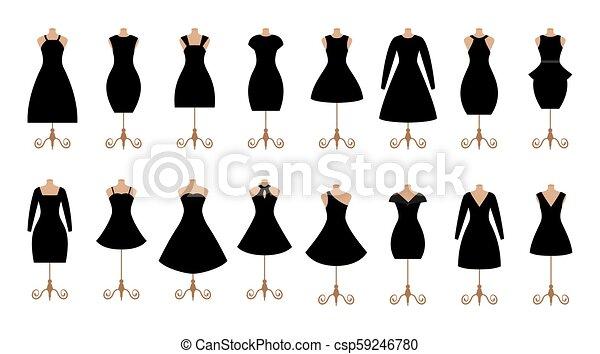 La mujer negra viste un juego de iconos de moda. Colección de ropa femenina. - csp59246780