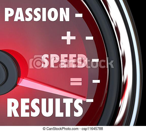 La pasión más la velocidad es igual a los resultados del speedómetro - csp11645788