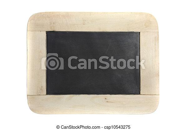 La pizarra de madera está aislada en blanco - csp10543275