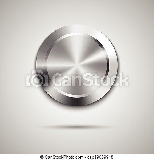La plantilla del botón del círculo con textura de metal - csp19089918