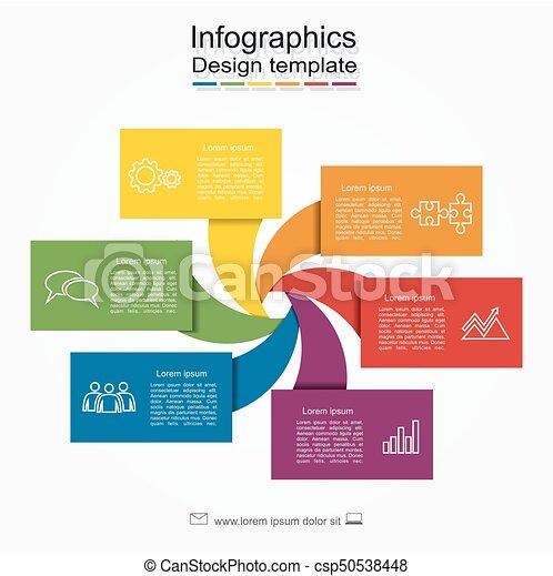 La plantilla infoográfica. Se puede usar para diseño de flujo de trabajo, diagrama, opciones de paso de negocios, pancarta, diseño web. - csp50538448