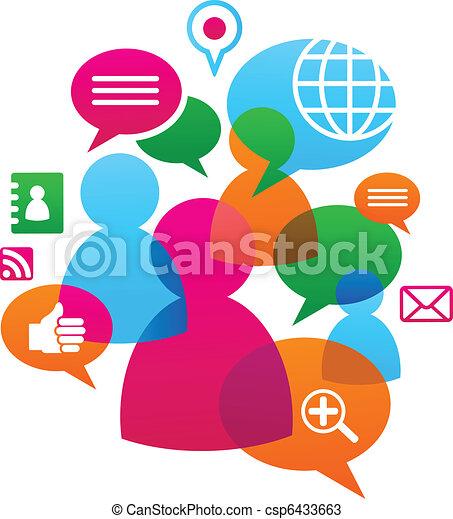 La red social está llena de iconos de medios - csp6433663