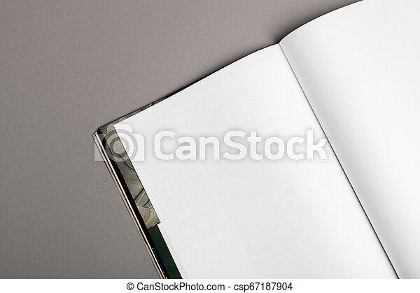 La revista Blank Brochure aislada en gris para reemplazar tu diseño - csp67187904