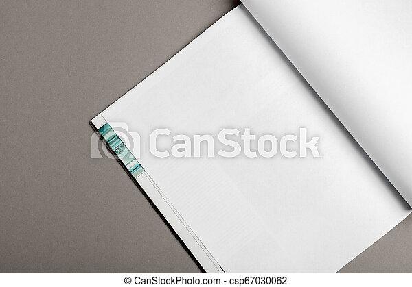 La revista Blank Brochure aislada en gris para reemplazar tu diseño - csp67030062