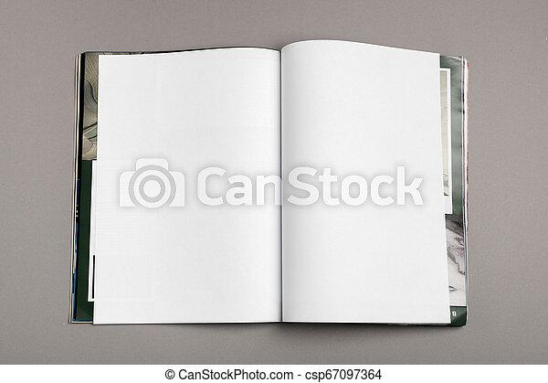 La revista Blank Brochure aislada en gris para reemplazar tu diseño - csp67097364