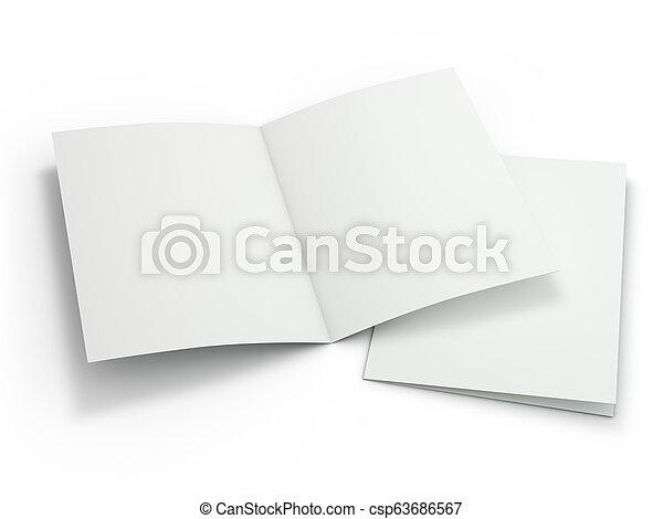 La revista Blank Brochure está aislada para reemplazar tu diseño. 3D - csp63686567
