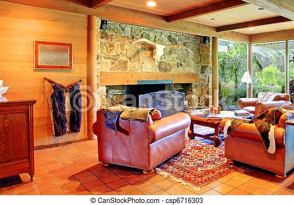 La sala de estar del rancho vaquero - csp6716303