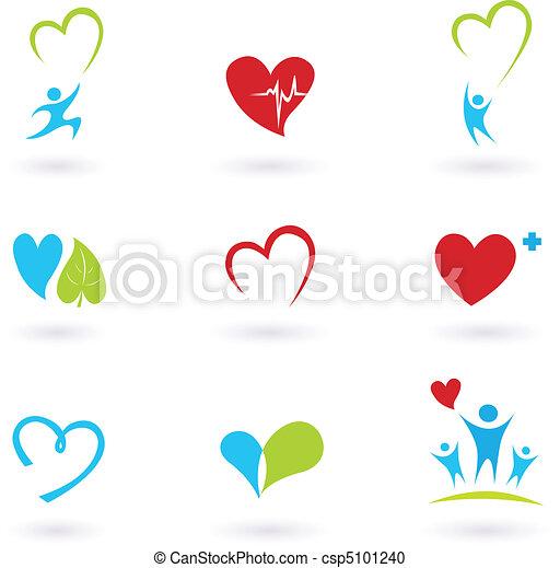 La salud y los iconos médicos en blanco - csp5101240