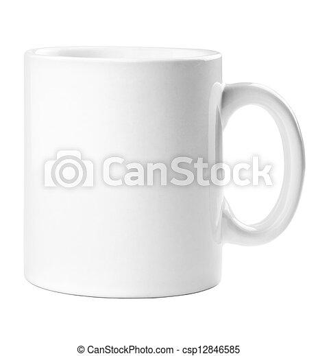 La taza blanca está vacía para café o té aislado en blanco - csp12846585