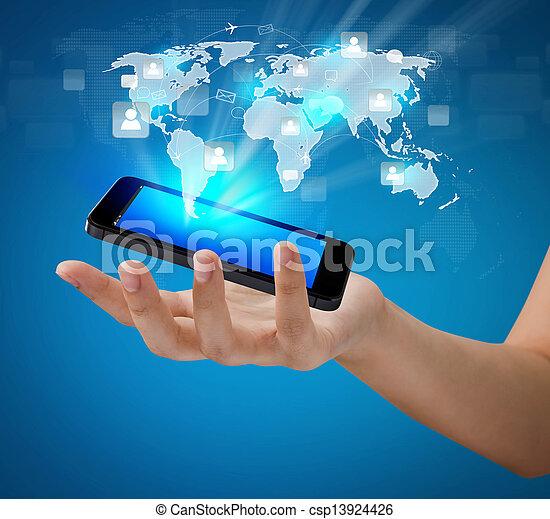 La tecnología móvil de comunicación moderna muestra la red social - csp13924426
