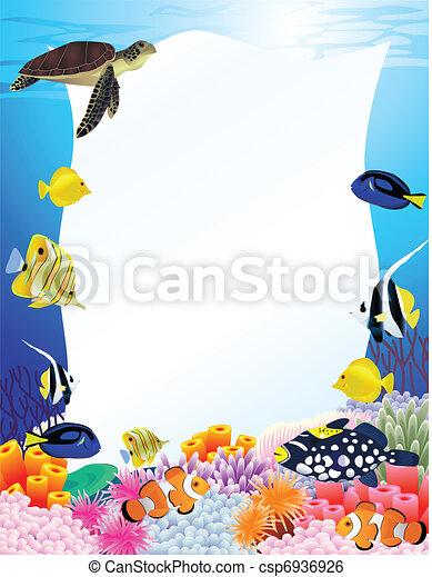 La vida marina tiene un signo en blanco - csp6936926