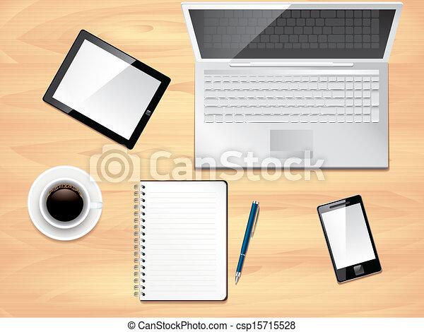 La vista de la oficina, la foto del vector realista - csp15715528