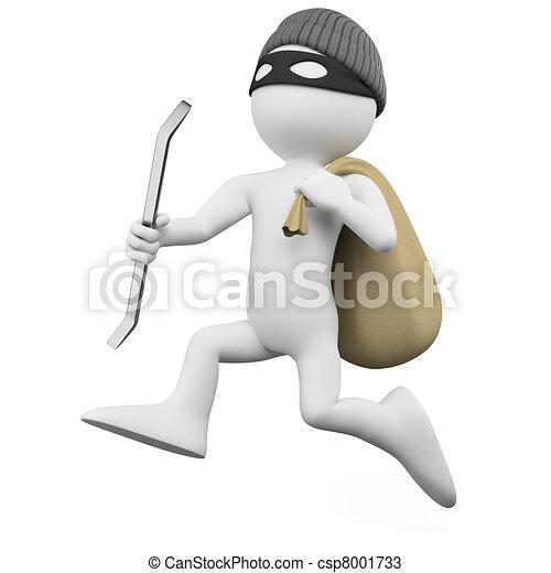 Ladrón corriendo con un saco - csp8001733