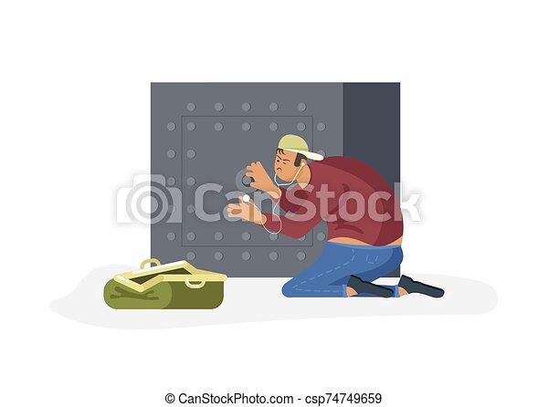 ladrón, tries, seguro, grieta - csp74749659