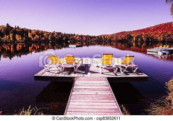 lago, muelle - csp83652611