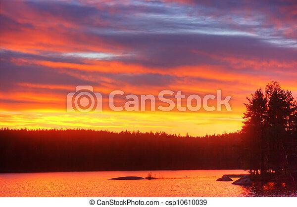 Al amanecer en el lago - csp10610039
