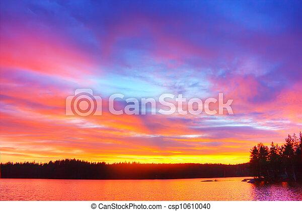 Al amanecer en el lago - csp10610040