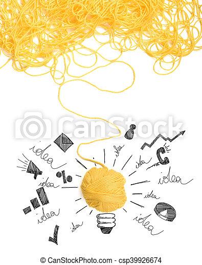 Concepto de idea e innovación con bola de lana - csp39926674