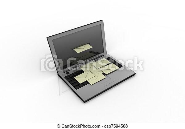 Laptop y correo - csp7594568