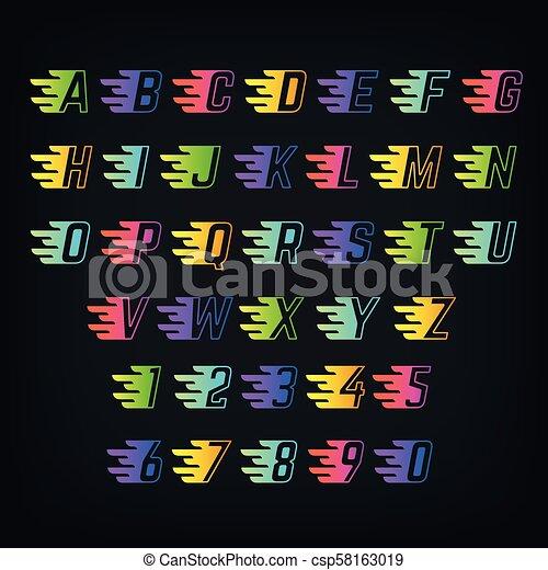 El alfabeto de color de energía. Cartas con líneas de velocidad. Graffiti o fuente de vectores deportivos - csp58163019