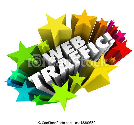 Las palabras Web Tráfico rodeado de estrellas para ilustrar incrementar su reputación en línea y la optimización del motor de búsqueda para atraer nuevos visitantes, lectores y clientes a su sitio web - csp18309582