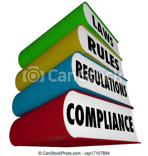 Las reglas de cumplimiento regulan la pila de libros manuales - csp17107894