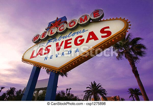 Las Vegas, señal de bienvenida al atardecer número uno - csp1275898